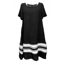 WORKING OVERTIME by TADASHI woman dress over black art AB278 100% linen MADE IN ITALY