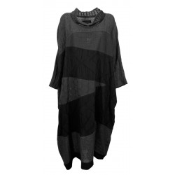 WORKING OVERTIME by TADASHI woman over black patchwork dress AB126 MADE IN ITALY