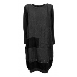 WORKING OVERTIME by TADASHI gray / black woman dress over patchwork AB128 OVETTO MADE IN ITALY
