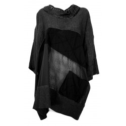 WORKING OVERTIME by TADASHI black over patchwork women's blouse CA125