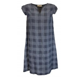 ETiCi denim checked patterned woman dress art A1 / 3534 / Q 100% linen MADE IN ITALY