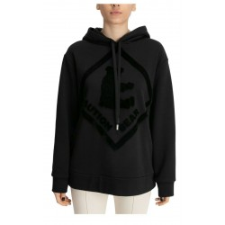 MEIMEIJ women's sweatshirt brushed over with black hood with bear print mod M1YZA1 MADE IN ITALY