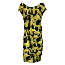 GHEJTAH black / yellow fantasy jersey woman dress art G21SS821 MADE IN ITALY