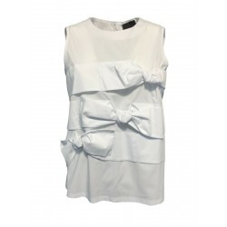 PRET A PORTER VENEZIA white woman top with bows art BERNESE MADE IN ITALY