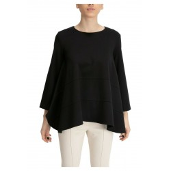 MEIMEIJ black woman blouse milan point over asymmetrical mod M1YB14 MADE IN ITALY
