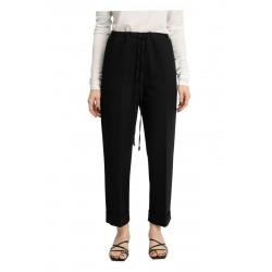 MEIMEIJ woman trousers in black pinstripe scuba fabric mod M1YC01 MADE IN ITALY