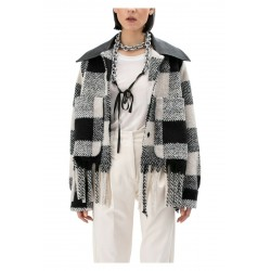MEIMEIJ white / black square woman jacket mod M1IN01 MADE IN ITALY