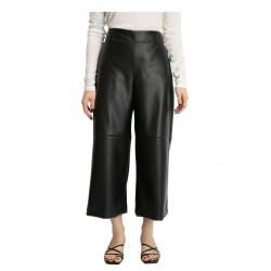 MEIMEIJ wide black faux leather woman trousers M1YD03 MADE IN ITALY