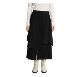 MEIMEIJ women's black skirt double layer flared milano stitch art M1YB03 MADE IN ITALY