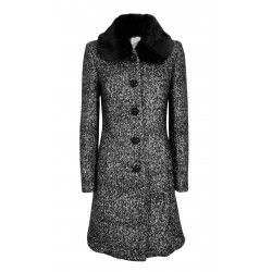 IL THE DELLE 5 woman black tweed coat slim lining DADI art CLERY 76 MADE IN ITALY