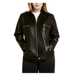 MARINA SPORT by Marina Rinaldi faux leather biker jacket art 13.5043021 CACAO