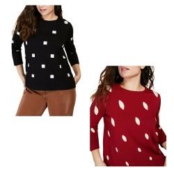 PERSONA by Marina Rinaldi women's sweater in ecru graphic inlay round neck 13.1363231 ALCESTE