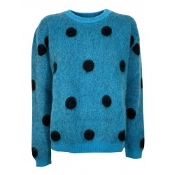 SEMICOUTURE women's turquoise crewneck sweater with black polka dots art S1WF20 ARIELLE MADE IN ITALY