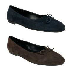 BALLERINA woman rounded toe with suede bow heel 1 cm art A616 100% leather bottom TUNIT MADE IN ITALY