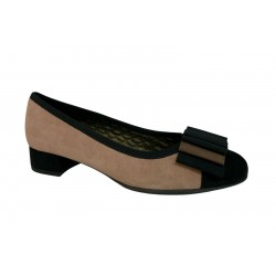 LE BABE two-tone beige / black suede woman shoe art 3314W1 MADE IN ITALY