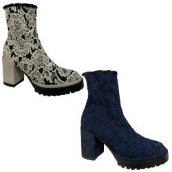 LE BABE women's low boot two-tone lace art 405W0