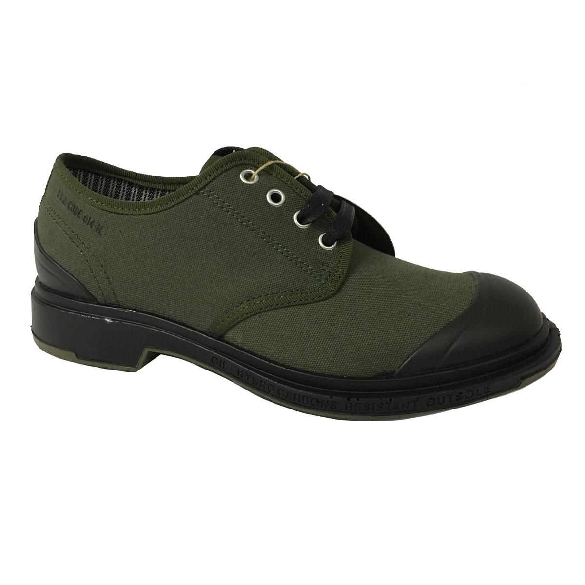 PEZZOL 1951 scarpa uomo in canvas verde e gomma mod MONSTER 014FZ-49